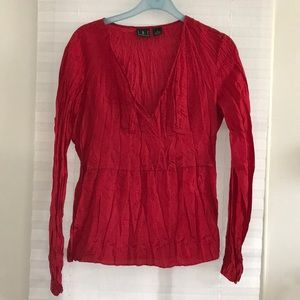 Red Fortuny Style Silk Blouse